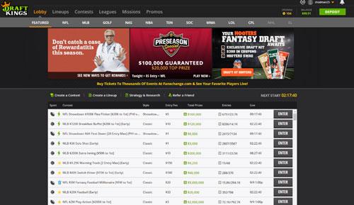 DraftKings Daily Fantasy Homepage