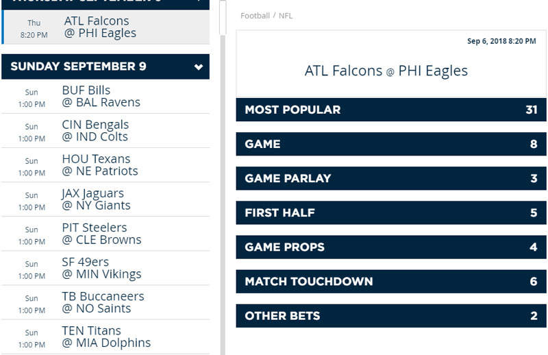 Bets Offered NFL