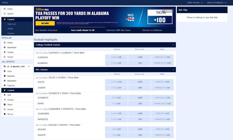 Bets Offered NFL