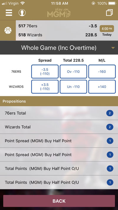 Bets Offered - NBA