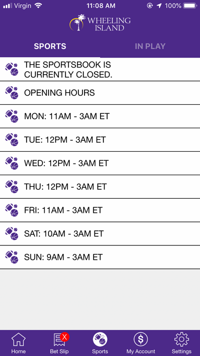 Sportsbook Hours