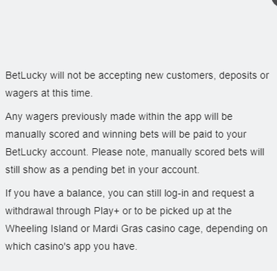 BetLucky service cancelation