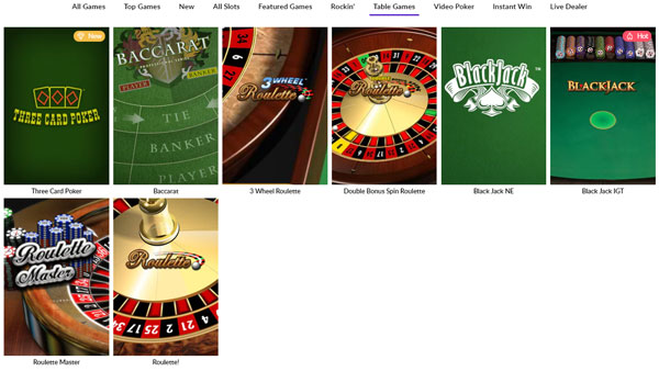 Hard Rock Online Casino Table Games