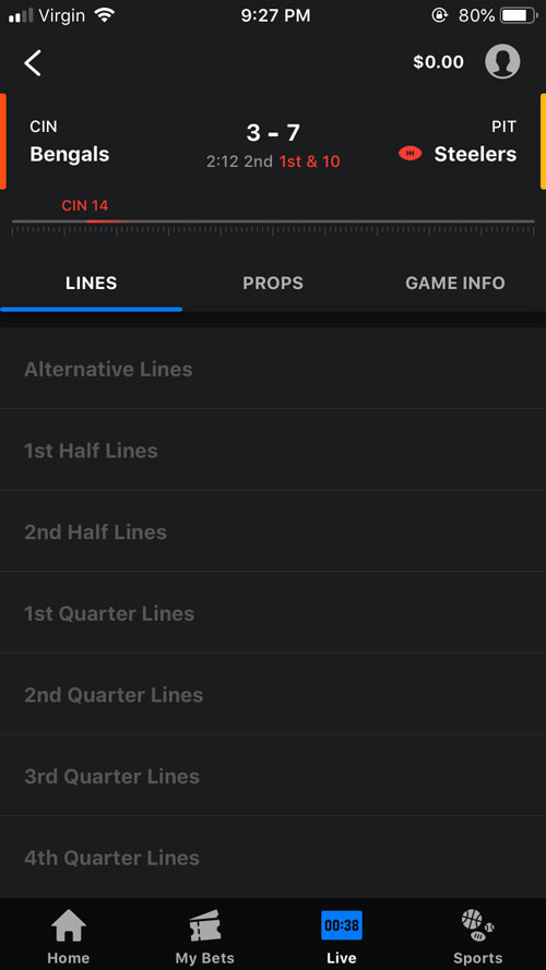 theScore Bet Live Betting NFL
