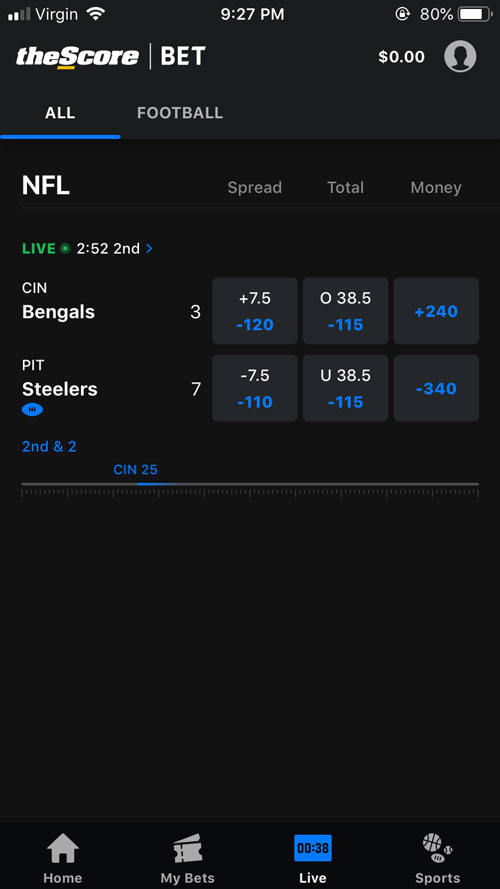 theScore Bet Live Betting