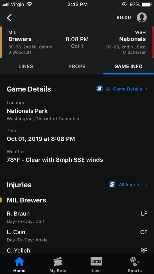 theScore Bet Game Details