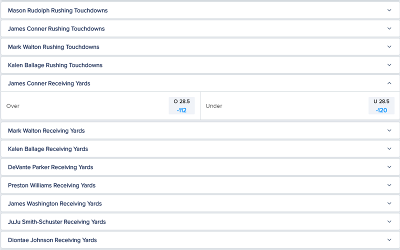 FanDuel NFL Bets Offered