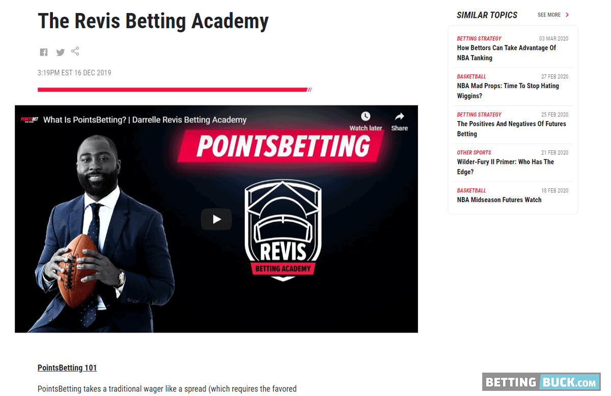 PointsBet Revis Betting Academy
