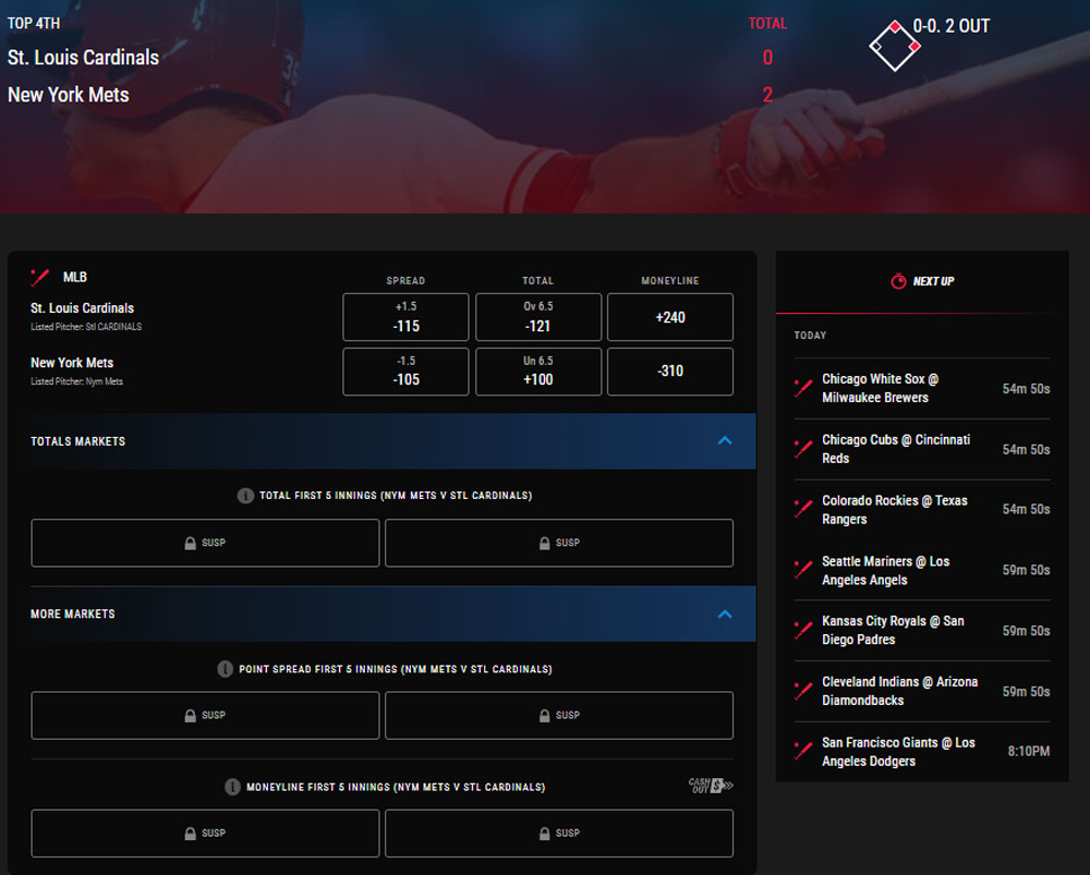PointsBet Live betting