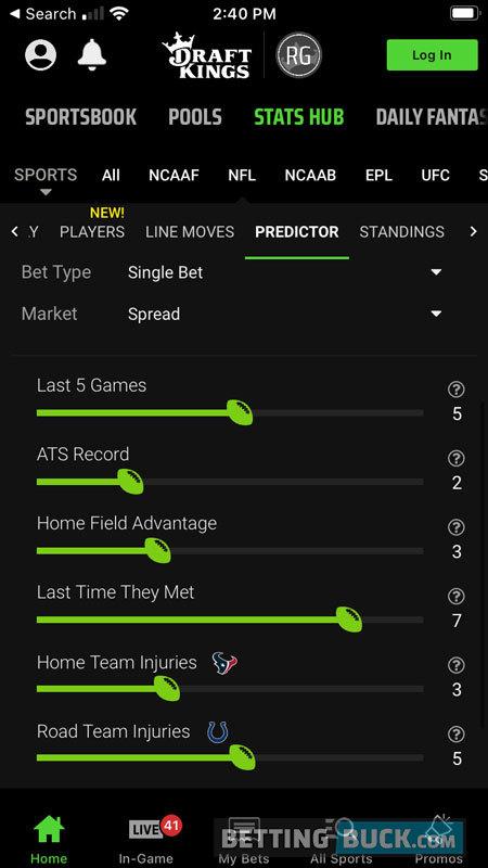 DraftKings Sportsbook App Stat Hub