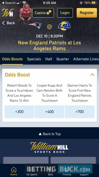 William Hill Odds Boosts