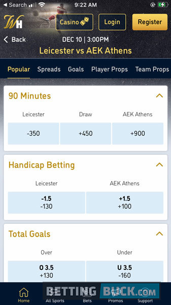 William Hill Bets Offered Soccer