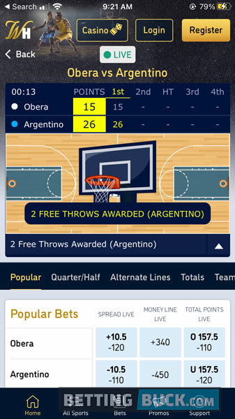 William Hill Live Betting Basketball