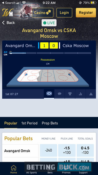 William Hill Live Betting Hockey