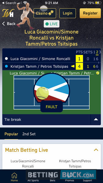William Hill Live Betting Tennis