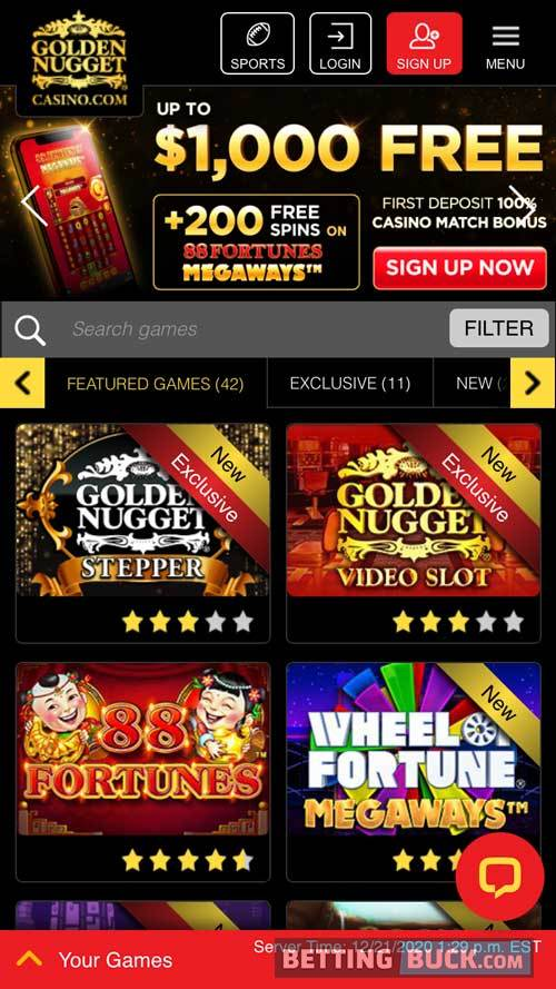 Golden Nugget Casino Homepage