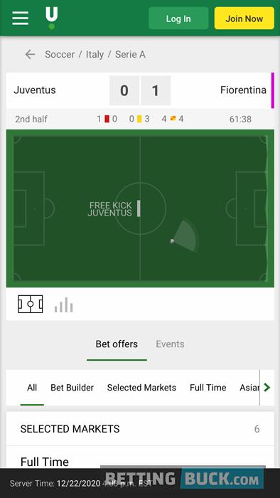 Unibet Live Match Tracker Soccer