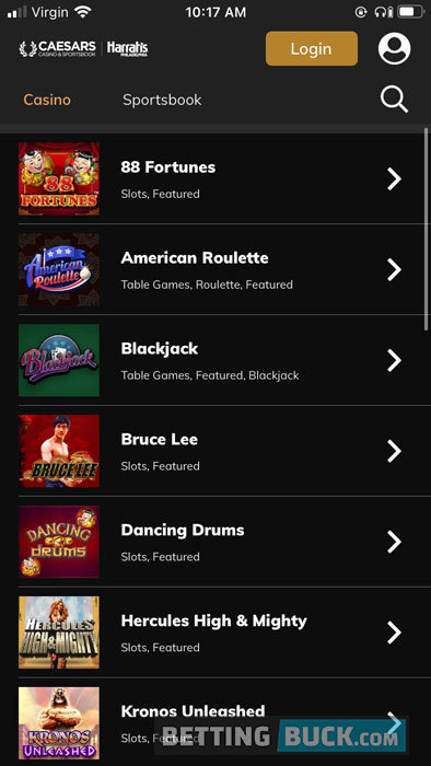 Caesars Casino Homepage
