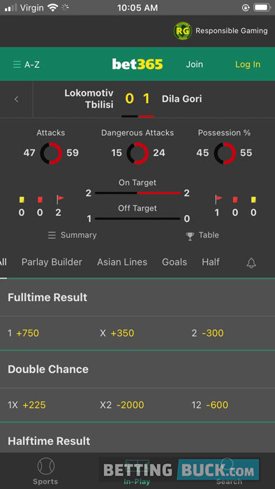 bet356 Live Betting Stats
