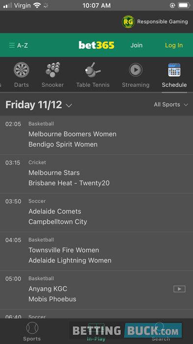 bet365 Sports Calendar