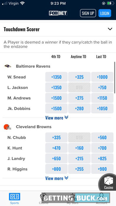 FOX Bet Bets Offered NFL