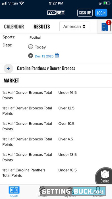 FOX Bet NFL Bets Offered