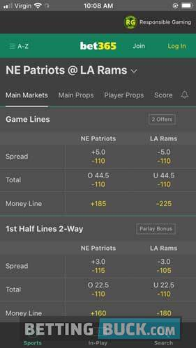 bet365 Bets Offered NFL