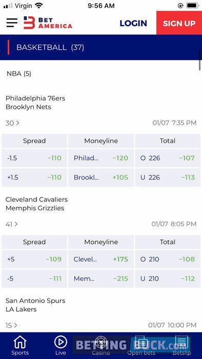 BetAmerica NBA Bets