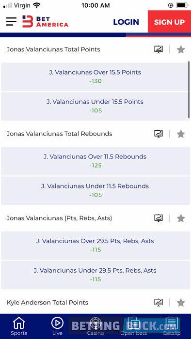BetAmerica NBA Props