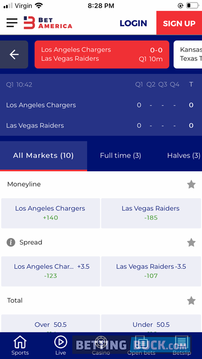 Live Bets NFL