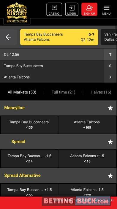 Golden Nugget Live Betting Match Tracker