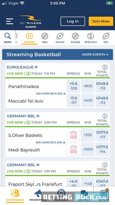 BetRivers live betting menu