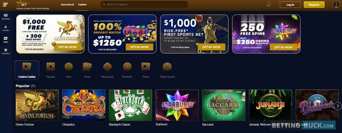 WynnBET casino homepage