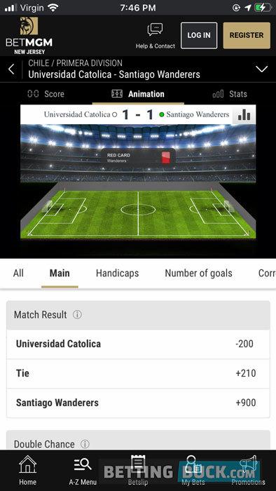 BetMGM live betting soccer