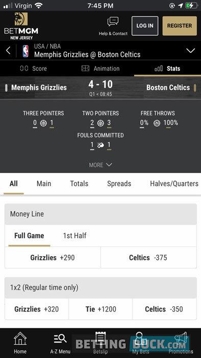 BetMGM live betting stats