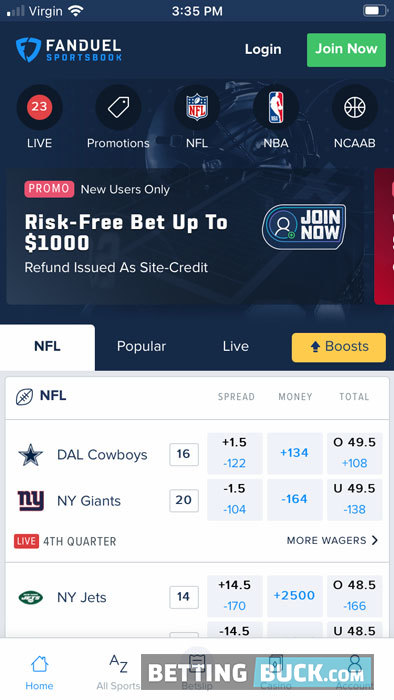 FanDuel Sportsbook home screen
