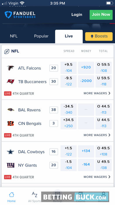 FanDuel Sportsbook live betting