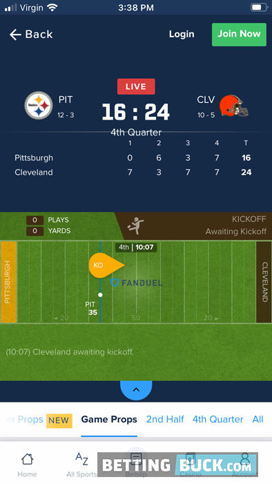 FanDuel Sportsbook live match tracker