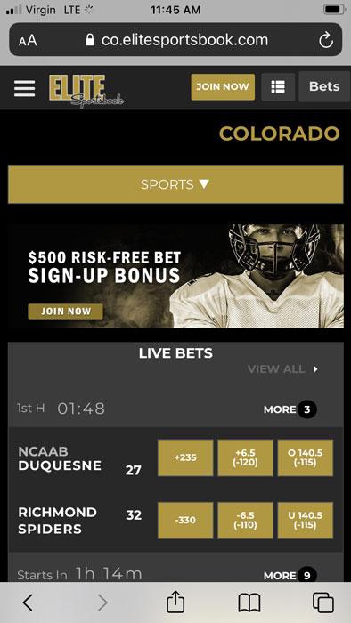 Elite Sportsbook mobile betting