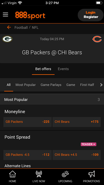 888sport NFL betting