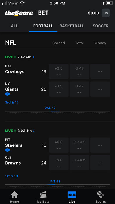 theScore Bet homepage