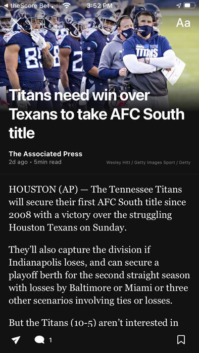 theScore Bet article